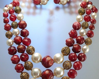 Lisner Set Multi-Strand Necklace & Earrings Red Pink Pearls Vintage