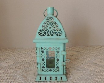 Rusty Turquoise Blue Hanging Tin Candle Holder. Blue Green Moroccan Temple Metal Lantern. Cathedral Shaped Non-Electric Light Fixture