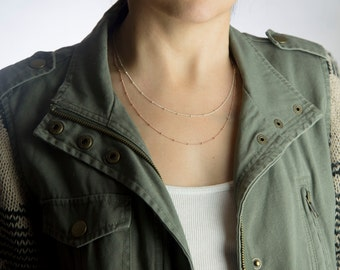 Rose Gold, Sterling Silver or Yellow Gold Beaded Chain Necklace, Perfect Layering Necklace Chain, Everyday Necklace, Rose Gold Necklace