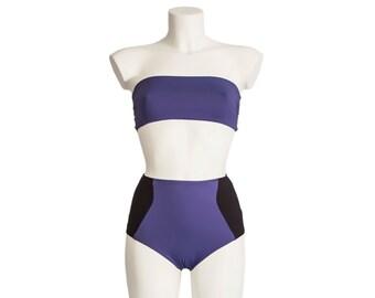 Highwaisted bikini set - Olga - Black & Indigo - Reversible  bandeau top