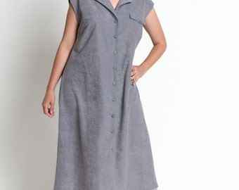 Vintage 70s Slate Gray Microsuede Button Front Midi Shift Dress | L