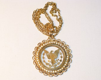 Vintage Patriotic Cut Out Eagle and Rhinestone Medallion Pendant Necklace (N-1-4)