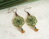 Woodland Dangle Earrings in Tatting Lace - Green , Gold - Limited Edition 2 of 3 - Aster