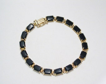 10k Gold black onyx gemstone bracelet tennis cuff bangle emerald cut line link chain rectangle stacking womens fine jewelry