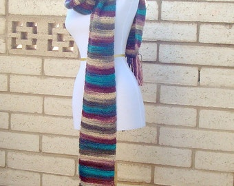 Unforgettable Scarf: Tealberry Scarf for Women or Men - Autumn Scarf - Harvest Scarf - Crocheted Scarves - Multicolor Stripes, Striped Scarf