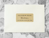 Custom Printed Return Address Labels - Future Mr and Mrs, Calligraphy Address Labels, Brown Kraft Labels, Wedding Gift, Rustic Wedding