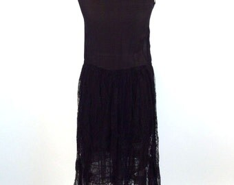 Vintage 1920s/1930s Dress, Women's Dress, Distressed, Raven Black, Chantilly Lace, Silk, Sheer, Scoop Neck, Sleeveless, As Is