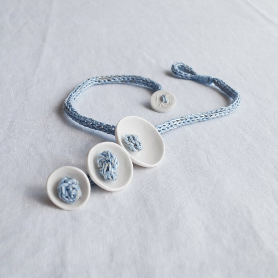 KNOT POD rope necklace white porcelain blue knitted icord linen necklace artisan porcelain jewellery scandi design