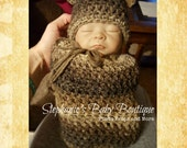 Ready to Ship, Crochet Newborn Baby Boy Teddy Bear Hat and Swaddle Set, Handmade, Photo Prop, Photography Prop, Gift, Brown, Cocoon, beanie