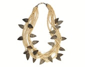 Tribal Statement Necklace - LEAF and BONE - Bold Layered Ethnic Runway Jewelry - Huge Hippie Boho INDIA Beaded Necklace - Festival Necklace