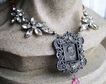 flower girl - vintage assemblage necklace tintype portrait rhinestone chain pink sapphire heart arrow victorian by the french circus