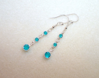 Turquoise Crystal Earrings for Women Blue Drop Crystal Dangle Earings December Birthstone Jewelry Blue Crystal Jewellery Gifts for Her