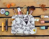 Medium Make Up Bag in Fox & Leaf Garland Pattern, illustrated, designed and handmade in Yorkshire, England