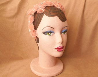 HAT SALE...Vintage 50's Crown Hat, BEAUTIFUL Pale Shell Pink Circlet or Fascinator, with Faux Pearls, Rockabilly, Mid Century, Mad Men
