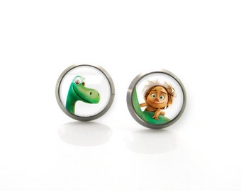 Pure Titanium Jewelry Earrings for sensitive ears Good dinosaur Spot | Girls earrings | Children Titanium stud earrings Kids earrings