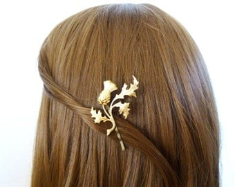 Hair Clip Hair Accessories Hair Pin Vintage Style Bobby Pin Bridal Hair Accessories Gold Leaf Scottish Thistle Scotland Womens Gift For Her