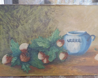 Antique Victorian SUNDAY ART Naive STRAWBERRIES & Blue Pot Oil Painting c1900