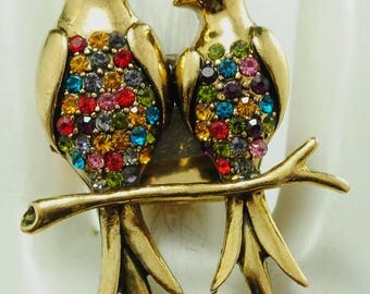 Gold Birds Statement Ring/Multicolor Rhinestones/Gift For Her/Bird Lovers Jewelry/Adjustable/Under 20 USD