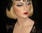 Oh Là Là - French Net Flapper Headband, Great Gatsby Headband, 20s Flapper Headpiece, Black French Net Gatsby Cocktail Headband, Speakeasy