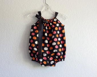 New! Infant Bubble Romper - Colorful Pumpkins on Black - Baby Girls Black Romper with Pink Orange & White - Size Nb, 3m, 6m, 9m, 12m or 18m
