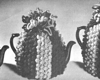 vintage crochet pattern teapot tea cosy cozy popcorn bobble bumpy bundle 3 sizes PDF printable download instant 1960s worsted weight g hook
