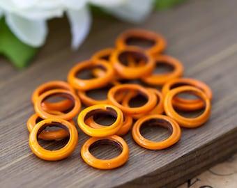 Vintage Glass Rings Japan Orange Glass Ring Beads 12mm