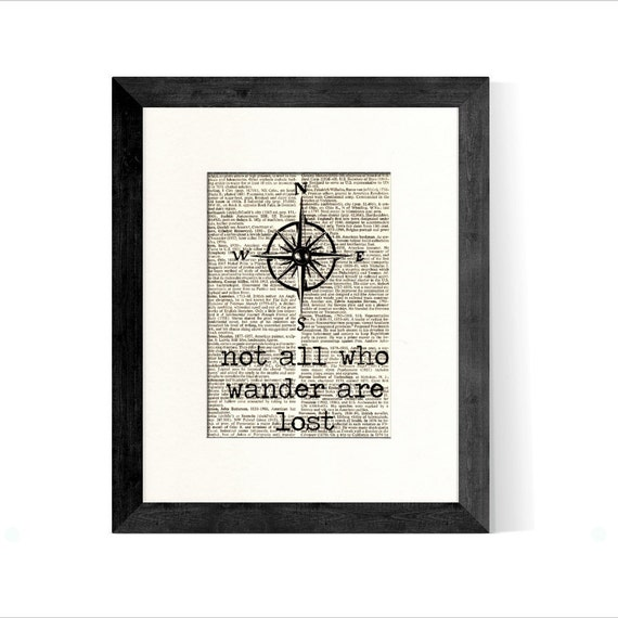 Compass Not All Who Wander Are Lost over Vintage Book Page - Great Gift Idea for Graduation, Graduation Gift, Retirement Gift, Travel Gift