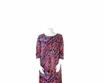 1980s Dress Plus Size • 80s Op Art Print Dress • XL XXL