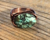 African Turquoise stone , antique copper wire wrapped ring - size 7.25 , 7 1/4  - brown blue gemstone natural rustic women men handmade wire