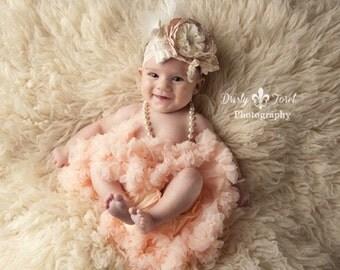 Peach blush headband, ivory headband, satin singed headband, large flower headband, lace headband,baby flower headband,