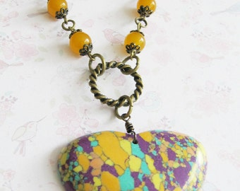Colorful heart necklace, beaded necklace, orange jewelry, large pendant, for her, bronze vintage style, Europe