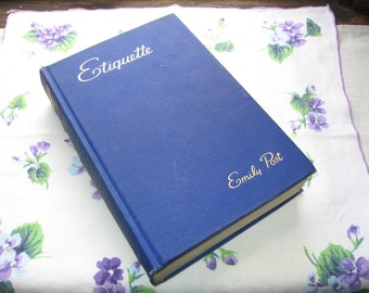 """Classic """"Etiquette"""" Book by Emily Post, Vintage 1943 Edition WWII Supplement, 1940s Blue Book of Social Usage, Wedding Funeral Formal Dinner"""