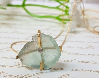 Raw Stone Necklace, Bohemian Necklace, Boho Rough Stone Necklace, Crystal Necklace, Raw Fluorite Necklace, Gift for Mom, Gift for Her, Boho
