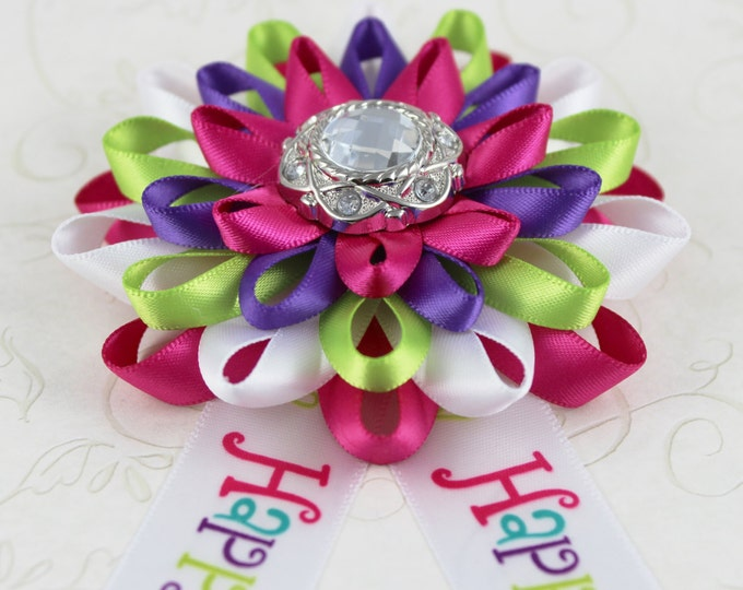 Birthday Party Decorations, Happy Birthday Corsage, Happy Birthday Ribbon Pin, Adult Birthday Gift, Purple, Lime Green, Colorful