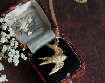 Swallow necklace, gold bird necklace, nature jewellery, woodland jewellery
