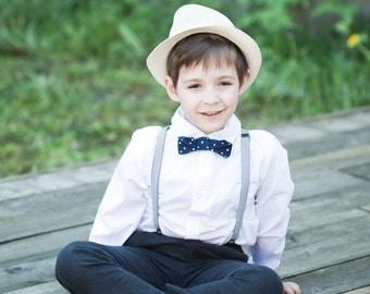 Blue Polka dot bow tie - Boy Linen bow tie - Navy blue bowtie - Wedding ring bearer bow tie - Valentine day bow tie - Blue bow tie