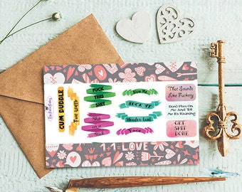 Classy curse word stickers - warning foul languae - planner supplies - potty mouth - watercolor - mean sayings - gag -inkwellpress planner