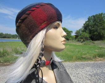 Skull Cap Ethnic Blanket Striped Hat BOHO Clothing Beanie Rainbow Striped Warm Winter Wool Knit  A1626