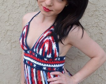 Red White Blue Crochet Halter Top - Patriotic Top - 4th of July - American Flag Top - Festival Top - Hippie - Bohemian - Summer Fashion
