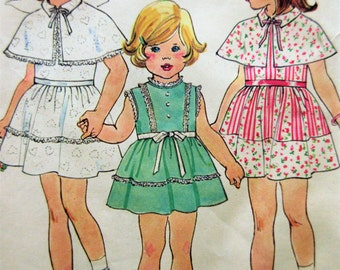 Vintage Simplicity 7412 Sewing Pattern, Little Girls' Dress, 1970s Dress Pattern, Child's Capelet, 1970s Sewing Pattern, Chest 22,
