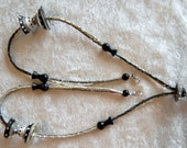 "Black, Off White, Gray, Grey Lampwork Beads & Triangle Seed Beads 28"" Long Necklace, Sculptural  Cone Beads"