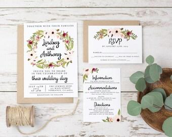 Boho Wedding Invitation Printed Rustic Bohemian Floral - Watercolor, Vintage, Maroon, Ecru, Brown, Fall, Winter, Outdoor Garden cards (1099)