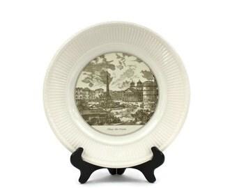 "Wedgwood Dinner Plate - Edme Creamware Plate, Piranesi Print Plate, Vintage English Plate, ""Piazza della Rotonda"", c.1940s"