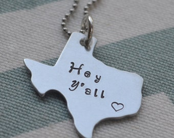 Texas State Love Hand Stamped Pendant