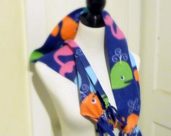 Blue Fleece Whale Print Scarf, Fringe Scarf, Sea Creatures Fabric Scarf, Unisex Adult Medium Scarf