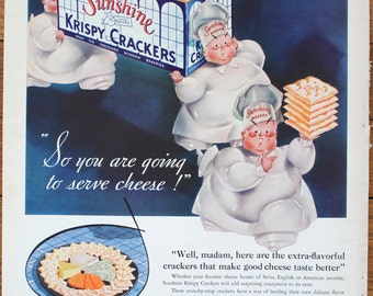 Vintage Advertisement - Sunshine Krispy Crackers Advertisement - Kitchen Décor - Vintage Ad - Home Décor - 1934 -