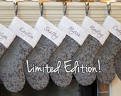 NEW! Silver Gray Personalized Christmas Stockings with White Cuff. Limited Edition Stockings!