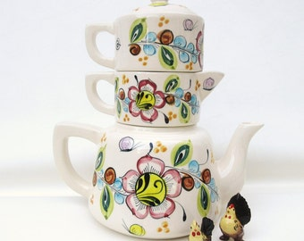 Vintage Stacking Tea Pot | Stackable Teapot | Mexican Pottery | Cream and Sugar Set | 4 Piece Set