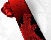 Godzilla necktie. Monster necktie. Sci-Fi tie. Geek movie tie. Japan tokyo skyline tie. Gojira tie. Kaiju tie. Red tie. Tiestory tie.