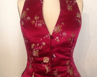 Burgundy Asian Brocade Vest, size Small